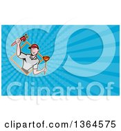 Poster, Art Print Of Cartoon White Male Plumber With Tools In A Diamond And Blue Rays Background Or Business Card Design