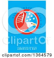 Clipart Of A Bald Eagle Circle With Happy Independce Day Stand Together United For Americas Day Text On Blue Royalty Free Illustration