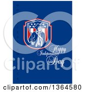 Clipart Of A Retro American Revolutionary Patriot Soldier Holding A Bayounet In A Shield With Happy Independence Day God Bless America Text On Blue Royalty Free Illustration