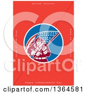Clipart Of A Retro American Revolutionary Patriot Soldier Holding A Flag With United Forever Land Of The Free Home Of The Brave Happy Independence Day Text On Red Royalty Free Illustration