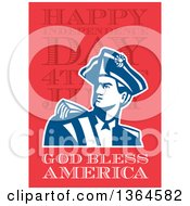 Clipart Of A Retro American Revolutionary Patriot Soldier Over Happy Independence Day 4th Of July God Bless America Text On Red Royalty Free Illustration