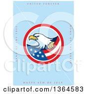 Clipart Of A Bald Eagle Circle With United Forever Land Of The Free Home Of The Brave Happy 4th Of July Text On Blue Royalty Free Illustration