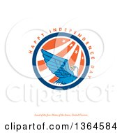 Clipart Of A Bald Eagle Circle With Happy Independence Day Land Of The Free Home Of The Brave United Forever Text On White Royalty Free Illustration