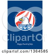 Clipart Of A Bald Eagle Circle With Stand Together United For Americas Day Happy Fourth Of July Text On Blue Royalty Free Illustration