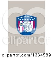 Clipart Of A Bald Eagle Shield With God Bless America Happy Independence Day Text On Taupe Royalty Free Illustration