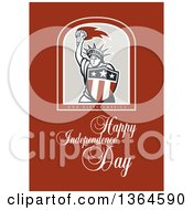 Clipart Of A Statue Of Liberty In A Shield Over God Bless America Happy Independence Day Text On Brown Royalty Free Illustration