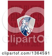 Clipart Of A Retro American Revolutionary Patriot Soldier Holding A Flag Over God Bless America Happy Independence Day 4th July Text On Red Royalty Free Illustration