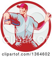 Poster, Art Print Of Retro Woodcut Baseball Player Pitching In A Red And Pastel Circle