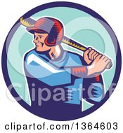 Poster, Art Print Of Retro Woodcut White Male Baseball Player Athlete Batting In A Blue Circle