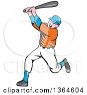 Poster, Art Print Of Cartoon White Male Baseball Player Athlete Batting
