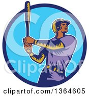 Poster, Art Print Of Retro Woodcut Black Male Baseball Player Athlete Batting In A Black White And Beige Circle