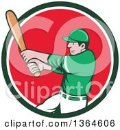 Poster, Art Print Of Cartoon White Male Baseball Player Athlete Batting In A Green White And Red Circle