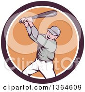 Poster, Art Print Of Retro Cartoon White Male Baseball Player Athlete Batting In A Brown White And Orange Circle
