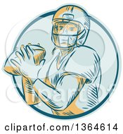 Clipart Of A Retro Engraved Male Quarterback American Football Player Throwing In A Blue Circle Royalty Free Vector Illustration