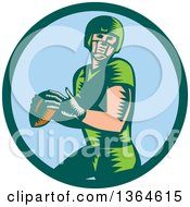 Clipart Of A Retro Woodcut White Male Quarterback American Football Player Throwing In A Bgreen And Blue Circle Royalty Free Vector Illustration