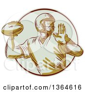 Clipart Of A Retro Engraved Male Quarterback American Football Player Throwing In A Circle Royalty Free Vector Illustration