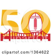 Clipart Of A Retro Super Bowl 50 Sports Design With A Football Over The Golden Gate Bridge Royalty Free Vector Illustration by patrimonio