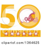 Clipart Of A Super Bowl 50 Sports Design With A Football Helmet Over Stars Royalty Free Vector Illustration