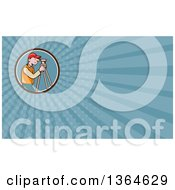 Clipart Of A Retro Cartoon White Male Surveyor Using A Theodolite In A Circle And Blue Rays Background Or Business Card Design Royalty Free Illustration by patrimonio