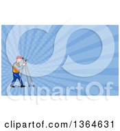 Clipart Of A Cartoon White Male Surveyor Using A Theodolite And Blue Rays Background Or Business Card Design Royalty Free Illustration by patrimonio