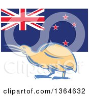 Clipart Of A Retro Woodcut Kiwi Bird Over A New Zealand Flag Royalty Free Vector Illustration