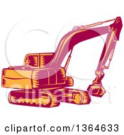 Retro Woodcut Orange And Red Mechanical Excavator Digger Machine