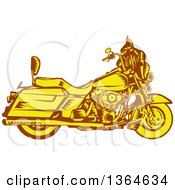 Clipart Of A Retro Woodcut Yellow And Brown Motorcycle Royalty Free Vector Illustration