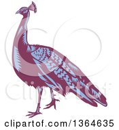 Retro Woodcut Purple And Blue Peacock Bird