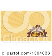 Clipart Of A Retro Factory Worker Mechanic In A Gear Arch And Yellow Rays Background Or Business Card Design Royalty Free Illustration