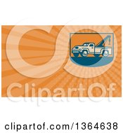 Retro Tow Truck And Orange Rays Background Or Business Card Design
