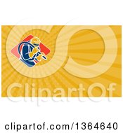Clipart Of A Sandblaster Worker And Yellow Rays Background Or Business Card Design Royalty Free Illustration by patrimonio