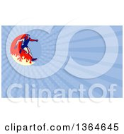 Clipart Of A Retro Man Jumping Over A Fire In An Obstacle Race And Blue Rays Background Or Business Card Design Royalty Free Illustration