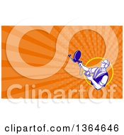 Retro Engineer Holding An Ultrasound Sonar Satellite Dish And Orange Rays Background Or Business Card Design
