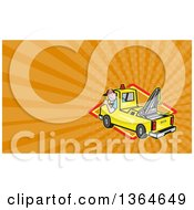 Clipart Of A Cartoon Tow Truck And Driver And Orange Rays Background Or Business Card Design Royalty Free Illustration by patrimonio
