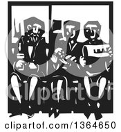 Clipart Of A Black And White Woodcut Woman Holding A Baby And Sitting Between Men On A Subway Royalty Free Vector Illustration