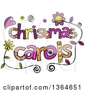 Clipart Of Colorful Sketched Christmas Carols Word Art Royalty Free Vector Illustration