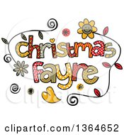 Clipart Of Colorful Sketched Christmas Fayre Word Art Royalty Free Vector Illustration