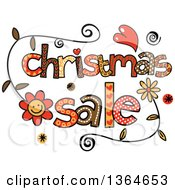 Clipart Of Colorful Sketched Christmas Sale Word Art Royalty Free Vector Illustration