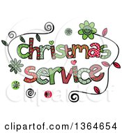 Clipart Of Colorful Sketched Christmas Service Word Art Royalty Free Vector Illustration