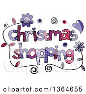 Clipart Of Colorful Sketched Christmas Shopping Word Art Royalty Free Vector Illustration