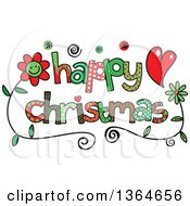 Clipart Of Colorful Sketched Happy Christmas Word Art Royalty Free Vector Illustration