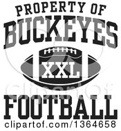 Clipart Of A Black And White Property Of Buckeyes Football XXL Design Royalty Free Vector Illustration by Johnny Sajem