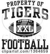 Clipart Of A Black And White Property Of Tigers Football XXL Design Royalty Free Vector Illustration
