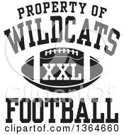 Clipart Of A Black And White Property Of Wildcats Football XXL Design Royalty Free Vector Illustration by Johnny Sajem