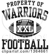 Clipart Of A Black And White Property Of Warriors Football XXL Design Royalty Free Vector Illustration
