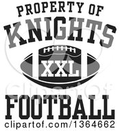Clipart Of A Black And White Property Of Knights Football XXL Design Royalty Free Vector Illustration by Johnny Sajem