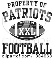 Clipart Of A Black And White Property Of Patriots Football XXL Design Royalty Free Vector Illustration by Johnny Sajem
