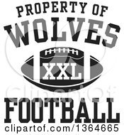 Clipart Of A Black And White Property Of Wolves Football XXL Design Royalty Free Vector Illustration by Johnny Sajem