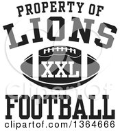 Clipart Of A Black And White Property Of Lions Football XXL Design Royalty Free Vector Illustration by Johnny Sajem