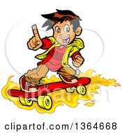 Clipart Of A Cartoon Boy Holding Up A Finger And Skateboarding On Flames Royalty Free Vector Illustration